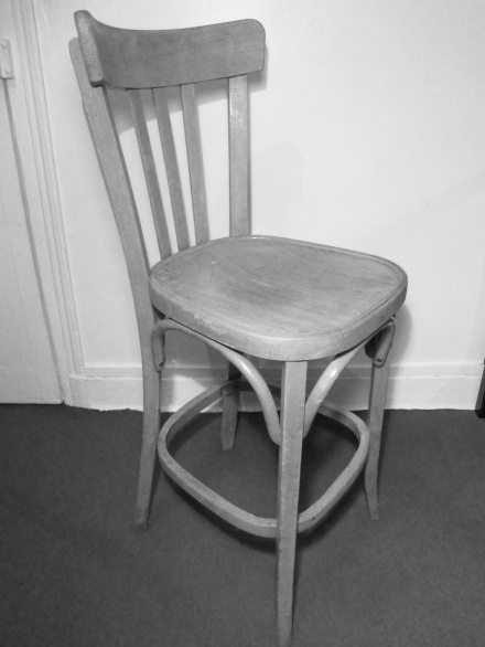 Chaise haute de bistrot, en bois de hêtre courbé, style Baumann