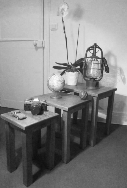 Table basse gigogne en bois vintage